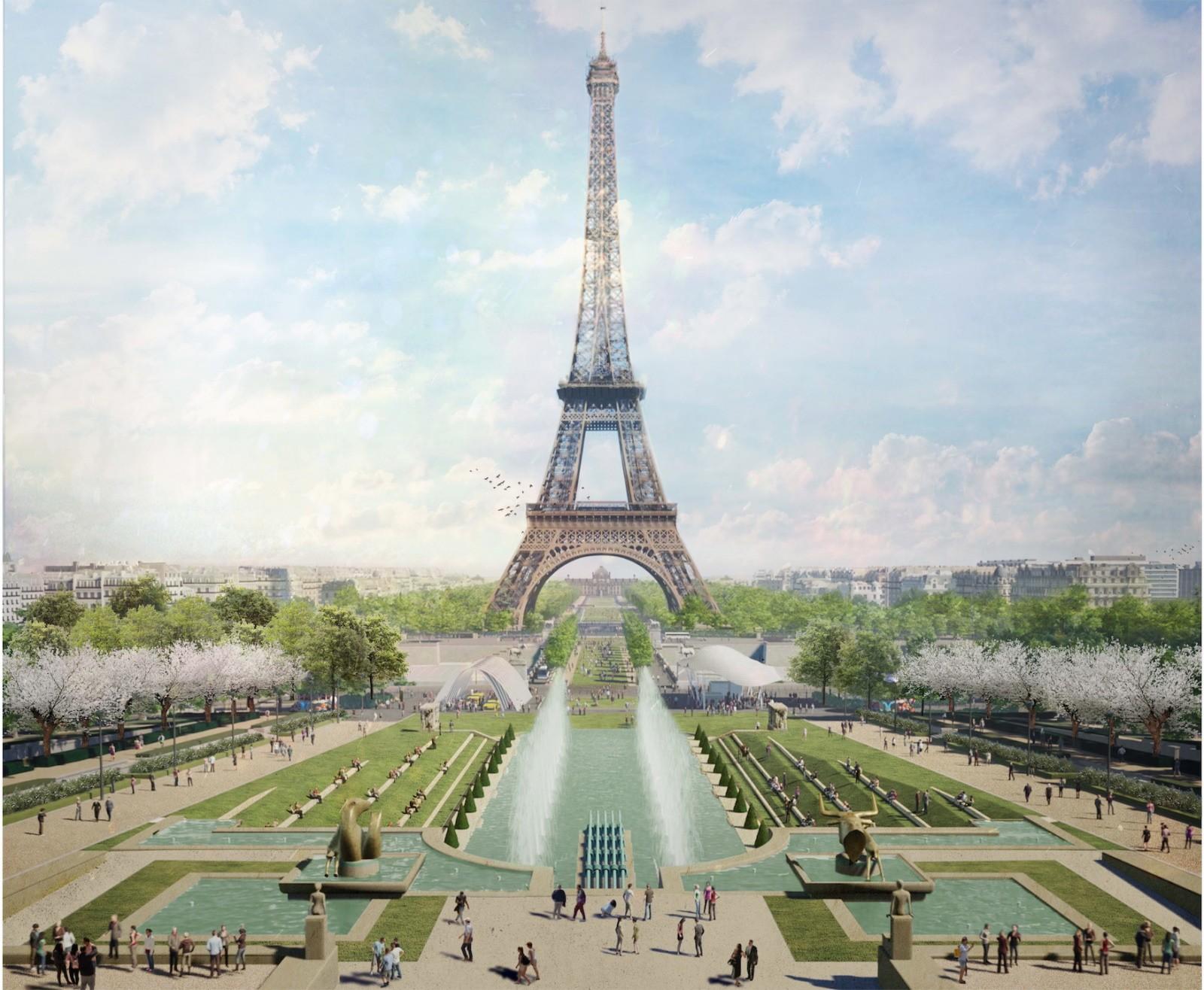 Site Tour Eiffel - Fontaine du Trocadéro. © Gustafson Porter + Bowman