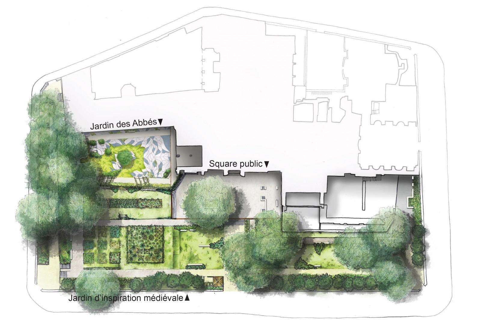 Plan vision prospective du jardin des Abbés  au musée de Cluny. © Ana Blanc, Tristan Geffray et Ken Novellas, paysagistes DPLG.
