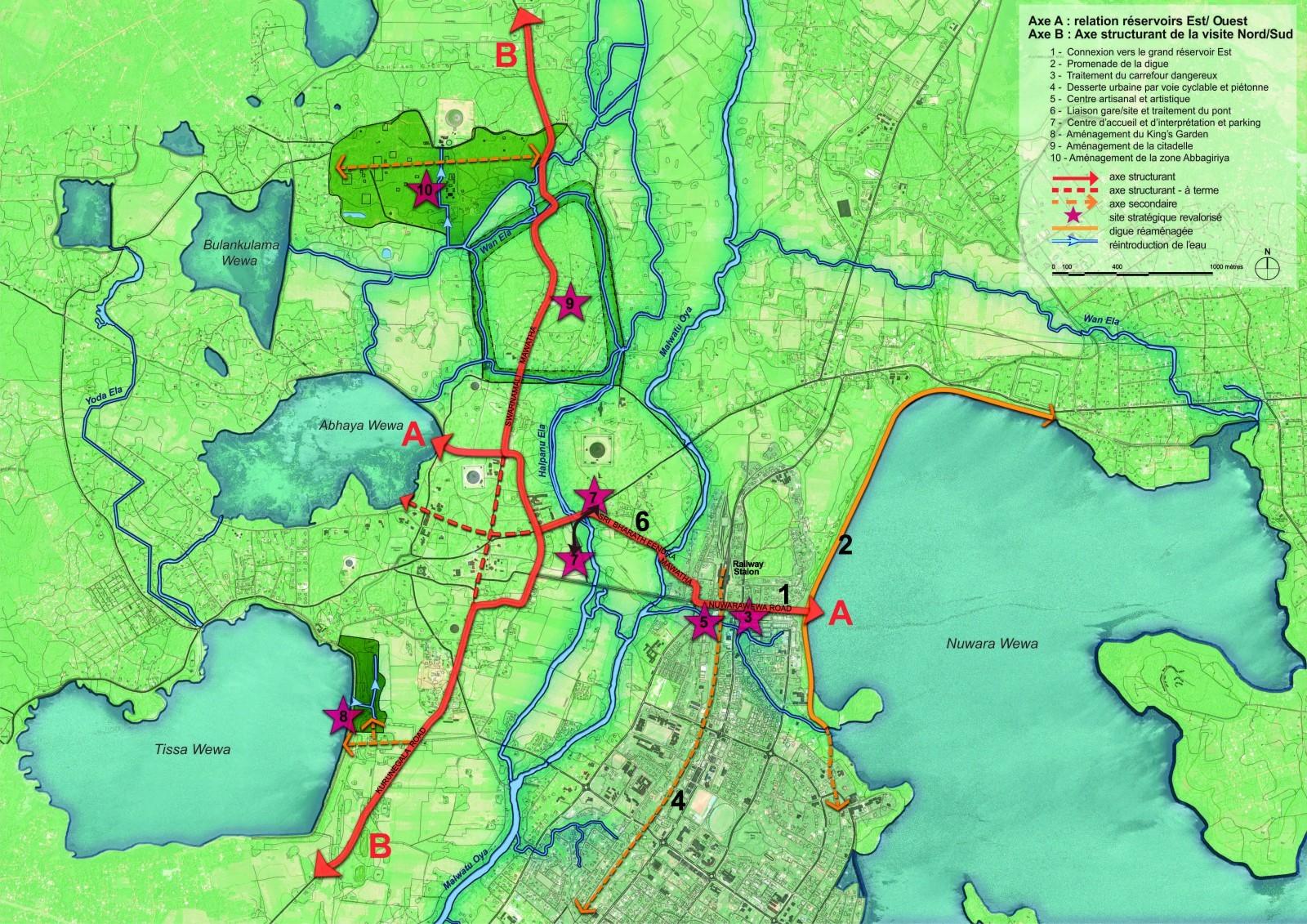 Plan général du projet - 2 axes et 10 sites. © a-urba