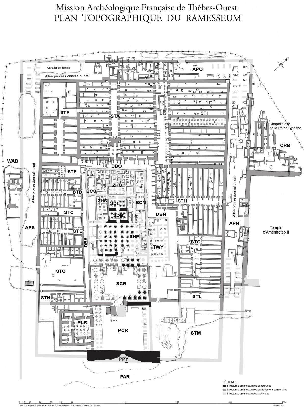 Plan topographique du Ramesseum ou temple de millions d'années de Ramsès II. D'après le relevé de J.-Fr. Carlotti, M. Chalmel, A. Lecointe, G. Roesch.