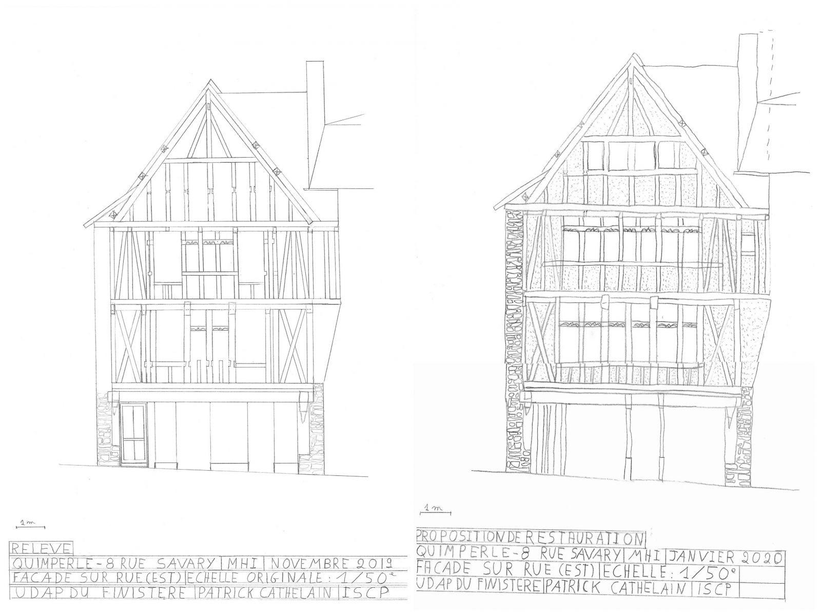 À gauche, un relevé de la façade après suppression de l'enduit ; à droite, une proposition de restitution de la façade. © UDAP du Finistère.