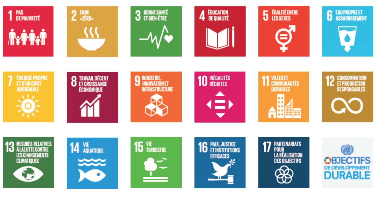Les 17 objectifs de développement durable (ODD) à atteindre d'ici 2030.
