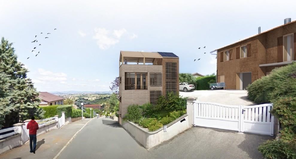 Au rythme de la pente, densification d'un quartier pavillonnaire ; projet lauréat du concours biosourcé Rhône-Alpes. © Karibati